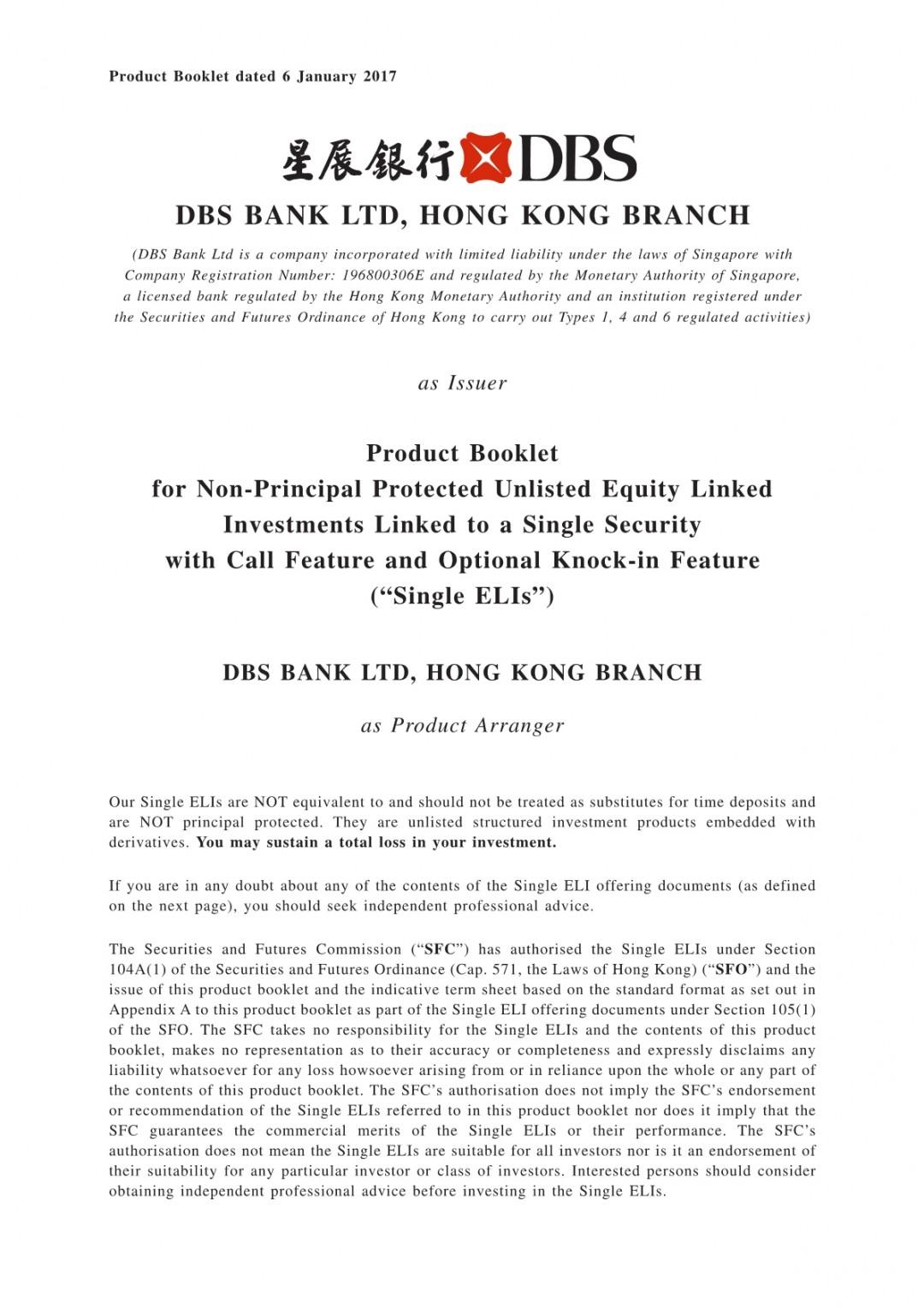 DBS Bank Ltd, Hong Kong Branch – Product Booklet (Single ELIs)