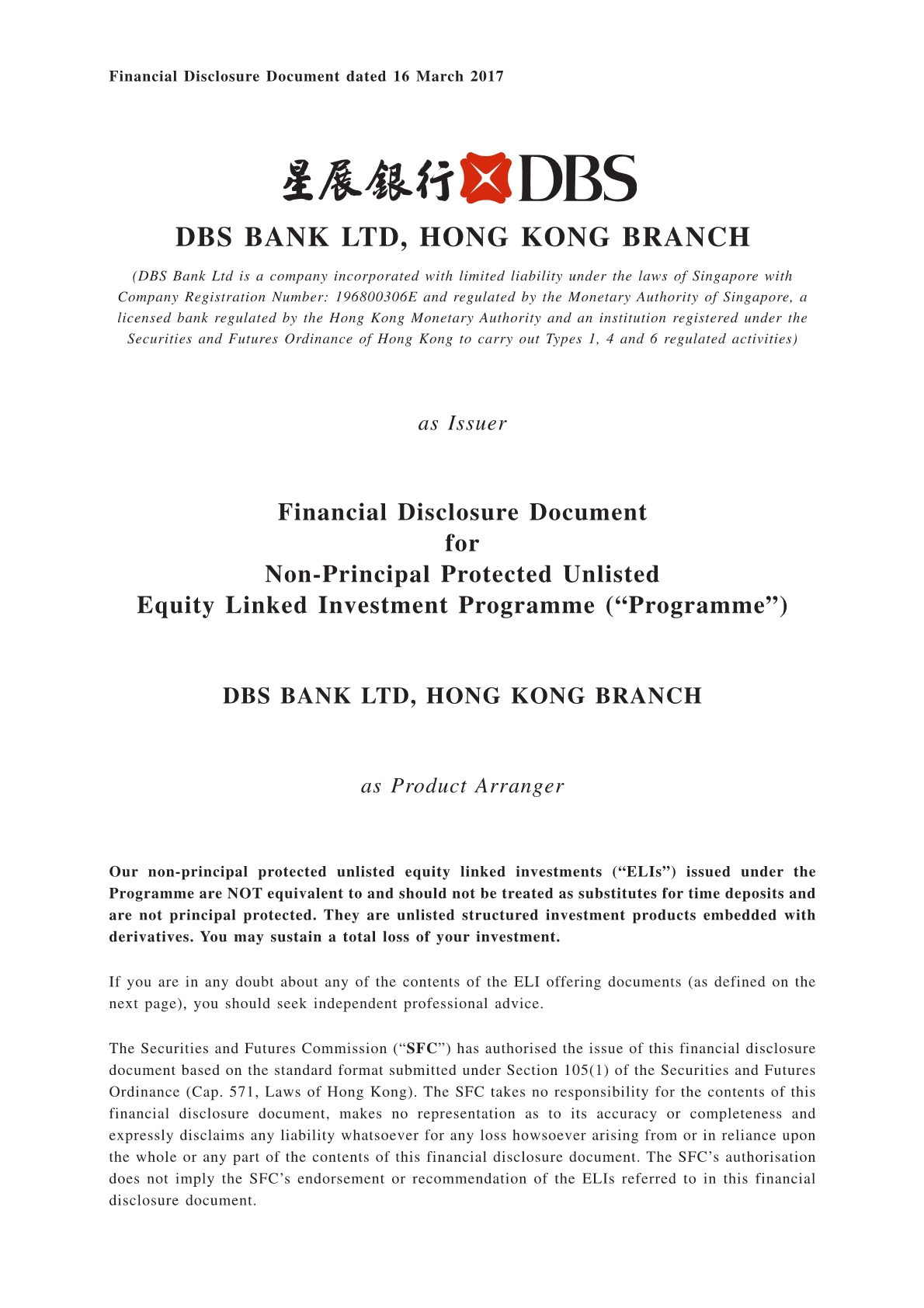 DBS Bank Ltd, Hong Kong Branch – Financial Disclosure Document