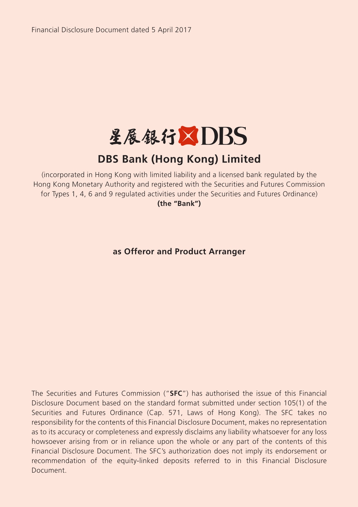 DBS Bank (Hong Kong) Limited – Financial Disclosure Document