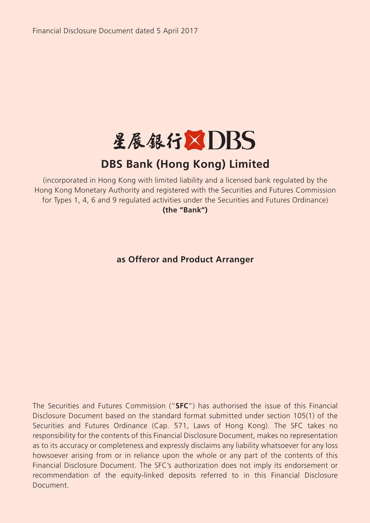 DBS Bank (Hong Kong) Limited – Financial Disclosure Document