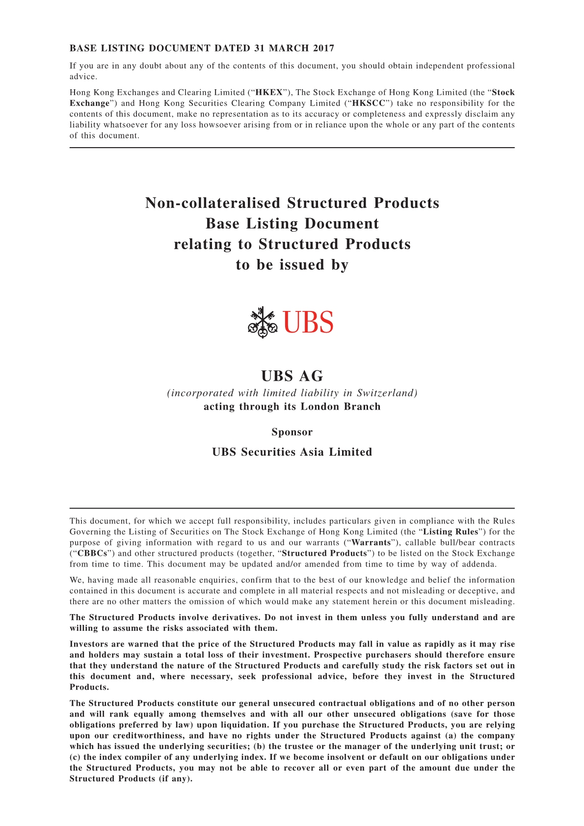 UBS AG – Base Listing Document