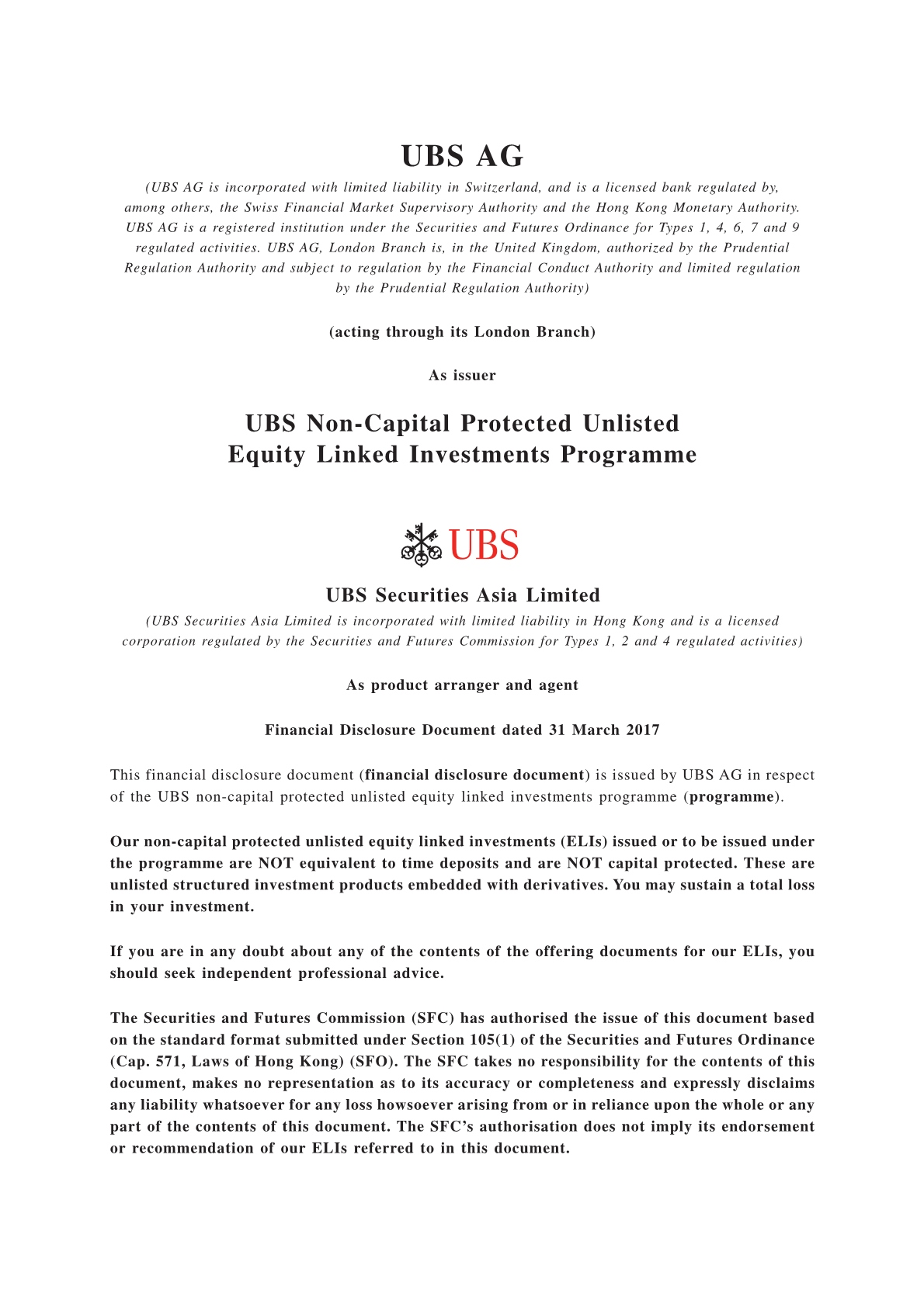 UBS AG – Financial Disclosure Document