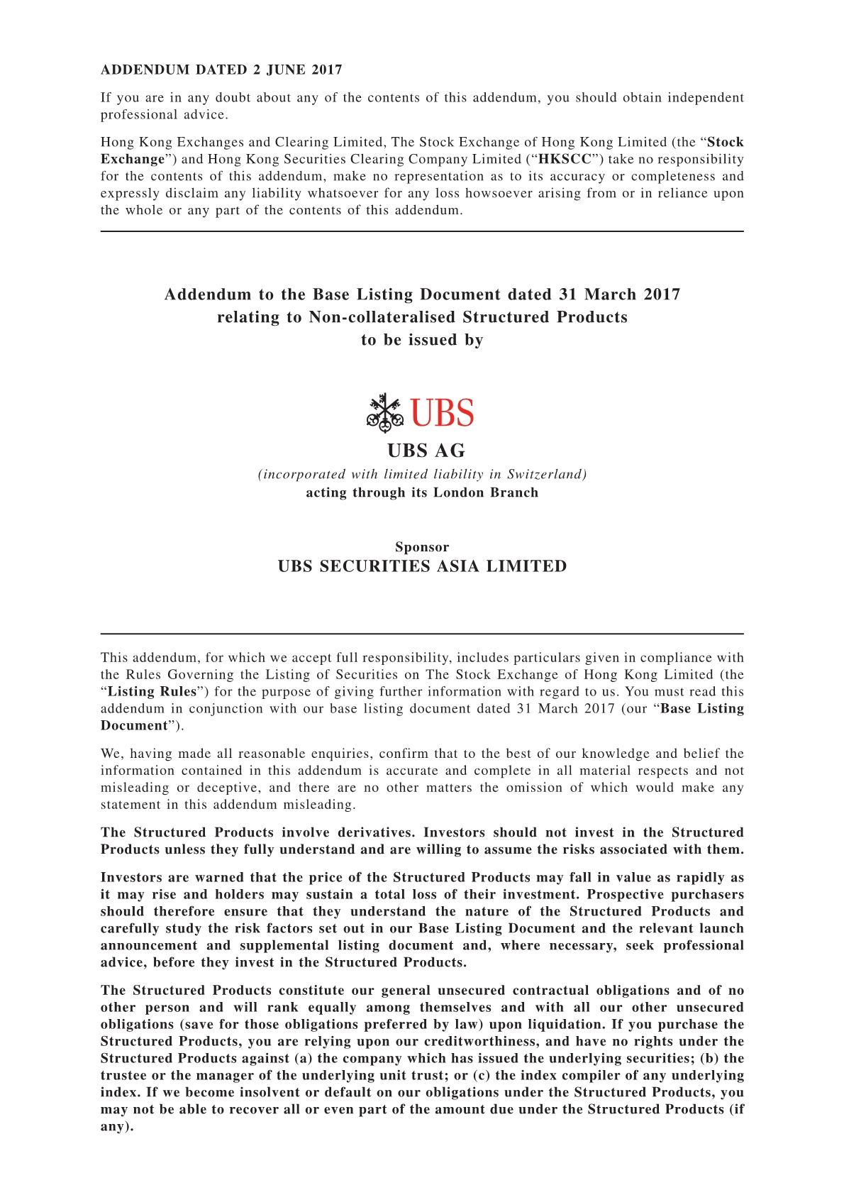 UBS AG – Addendum to the Base Listing Document