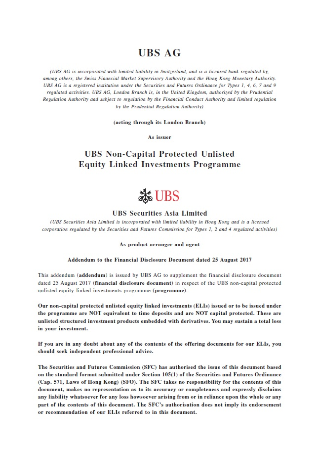 UBS AG – Addendum to the Financial Disclosure Document