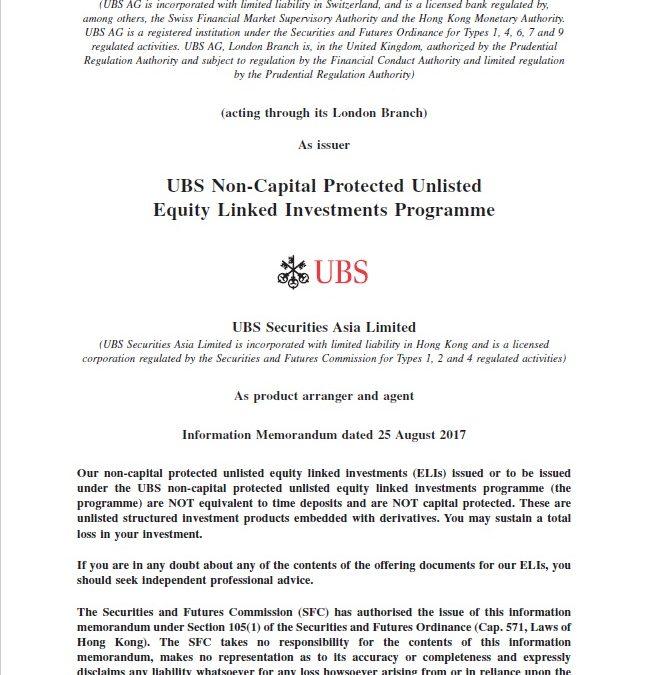 UBS AG – Information Memorandum