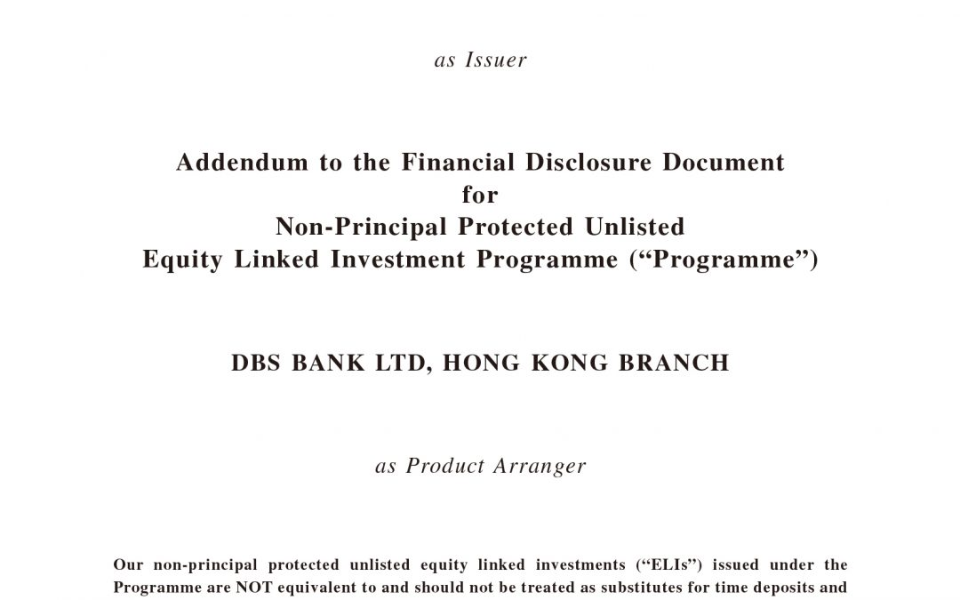 DBS Bank Ltd, Hong Kong Branch – Addendum to the Financial Disclosure Document
