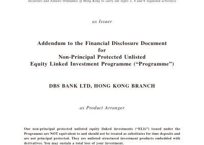 DBS Bank Ltd, Hong Kong Branch – Addendum to the Financial Disclosure Document
