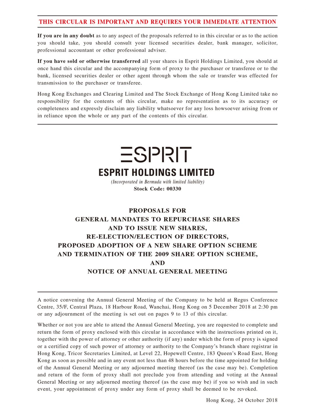 ESPRIT Holdings Limited