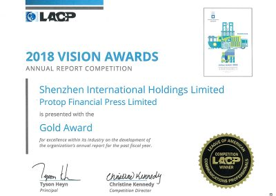 Shenzhen International Holdings Limited – 2018 VISION Gold Award