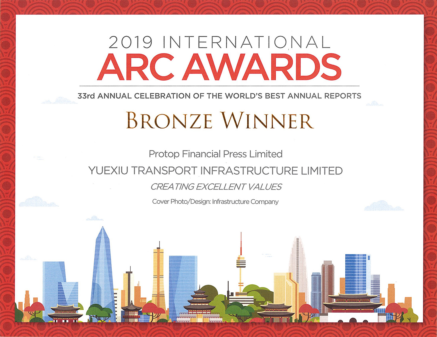 YUEXIU TRANSPORT INFRASTRUCTURE LIMITED – 2019 ARC AWARDS BRONZE WINNER Cover Photo/Design: Infrastructure Company