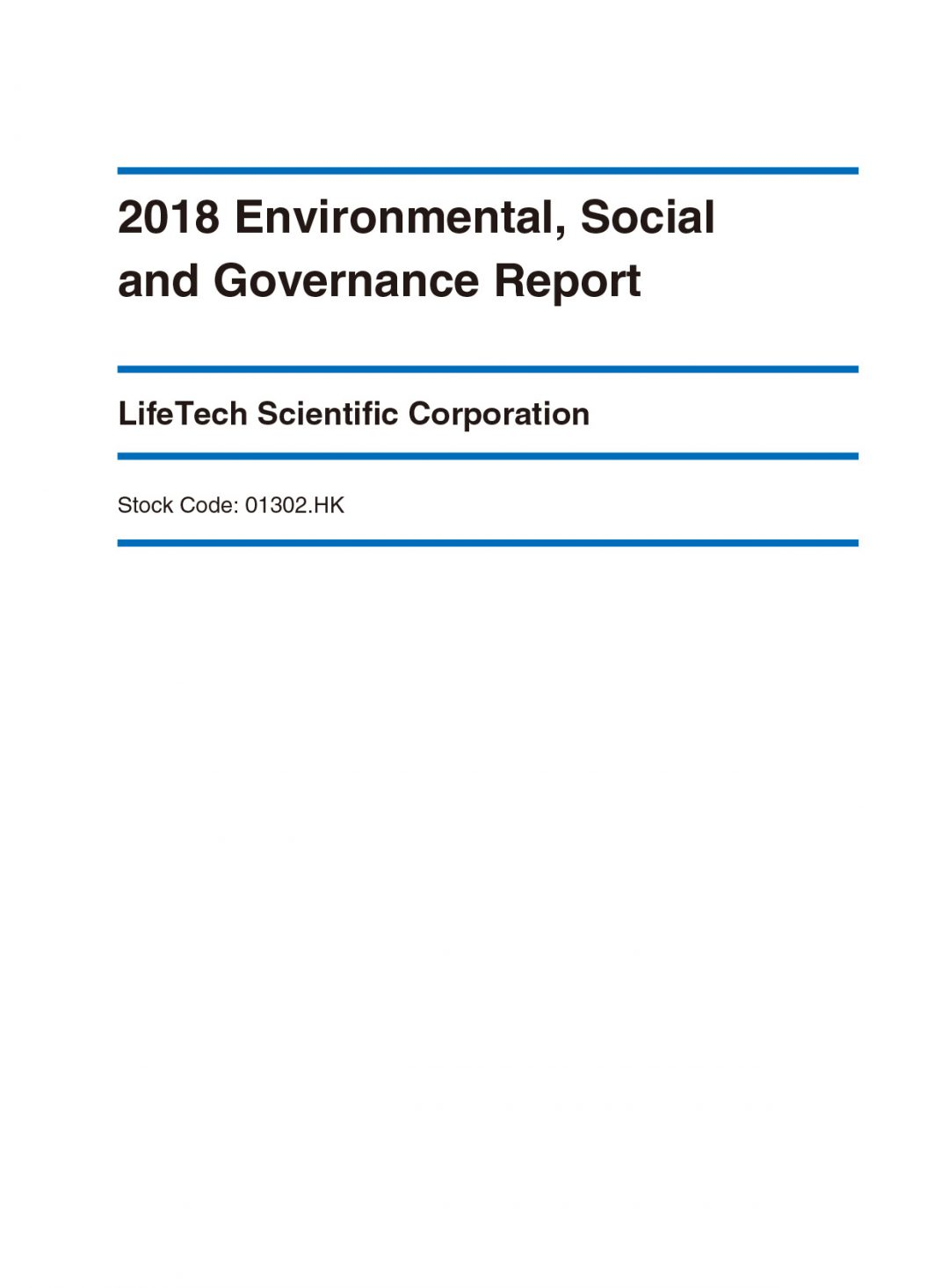 LifeTech Scientific Corporation ESG