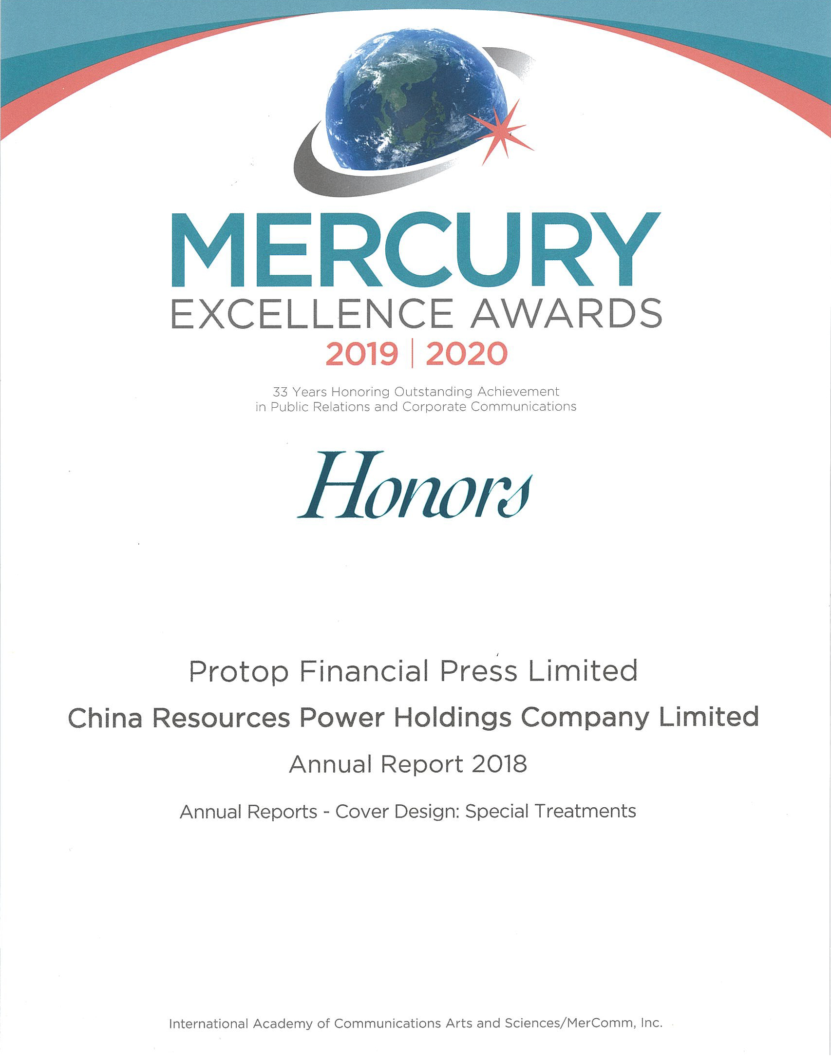 China Resources Power Holdings Co., Ltd. – 2019 Honors
